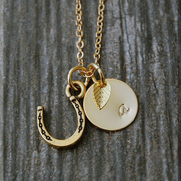 Gold Horseshoe Charm Necklace, Initial Charm Necklace, Personalized, Lucky Charm, Lucky Horseshoe Pendant, Lucky Jewelry, Cowgirl Jewelry
