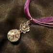 Fried Marble Rose Charm on Purple Ribbon Necklace by KatieDidsx3