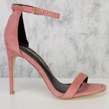 Blush Single Sole Peep Toe Ankle Strap High Heels Faux Suede