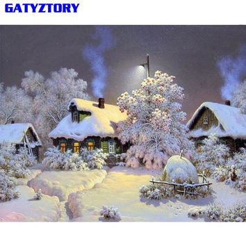 GATYZTORY Snow Landscape Diy Painting By Numbers Digital Calligraphy Painting Hand Painted Wall Art Picture For Home Decor 40x50