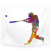 Society6 Baseball Player Hitting A Ball Wall Tapestry