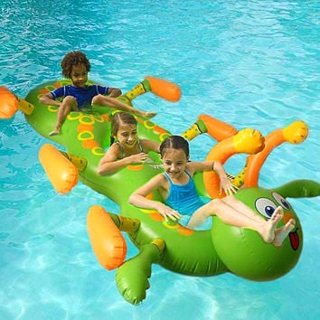 NEW Swimming Pool Inflatable PVC inflatable floating row Water three Flamingo Ride-On Pool Toy caterpillar Float inflatable