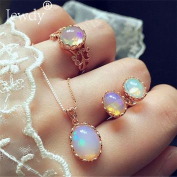 Jewdy Fashion Opal Jewelry Sets For Woman Cubic zirconia Water Drop Necklace Pendant Earrings Statement Bridal Wedding Party
