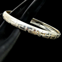 Sterling Silver Bangle Bracelet Italy Etched Greek Key Design Slide Clasp and Safety Chain Hallmarked 925 and Signed