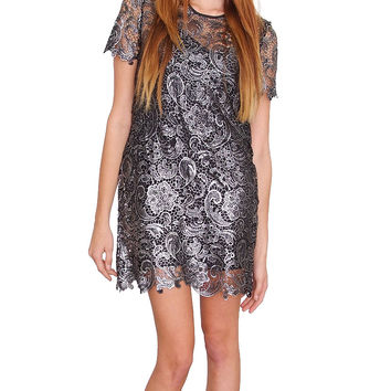 Romantic Lace Mini Dress - Silver Lace