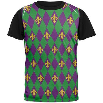 Mardi Gras Fleur De Lis Jester Costume All Over Mens Black Back T Shirt