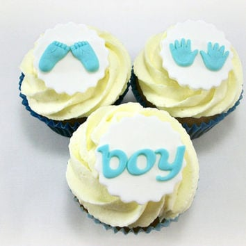Baby Shower Boy Fondant Cupcake Toppers, Baby feet and Baby hands Toppers, Baby Shower Edible Toppers, Gender Reveal Cupcake Toppers-12 pcs