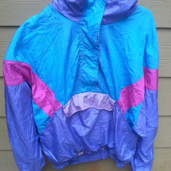 Vtg Colorblock Blue Purple Pullover Windbreaker Windsuit Jacket Size M