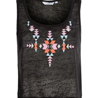 New Look Mobile | Black Aztec Embroidered Sleeveless Crop Top