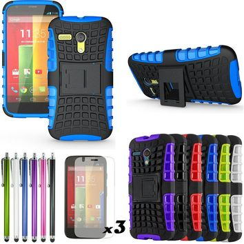 For Motorola Moto G XT1032 Kick stand Silicone hard case Defender Heavy Duty cover+LCD Film Screen Protector+Pen