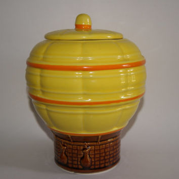 Vintage 1970s Ceramic McCoy Hot Air Balloon Cookie Jar Marked 353 USA
