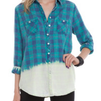 Green Plaid Bleached Out Top