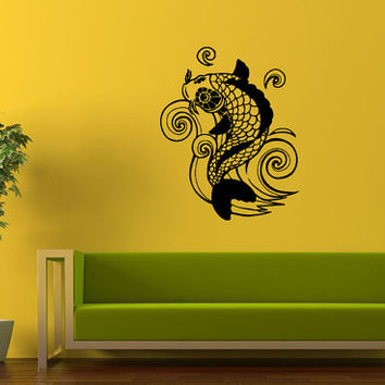 Wall decor vinyl sticker room decal art from stickers for wall for Koi fish wall decor
