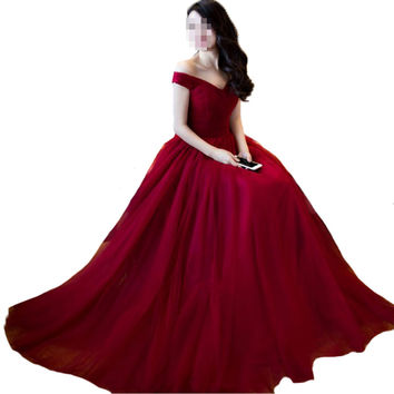 Burgundy Bridesmaid Dress Off shoulder Maid of Honer wedding Guest dress Formal Wedding Party Dress Bridesmaid Dresses