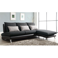 Modern Grey Fabric Sectional Sofa with Reversible Chaise