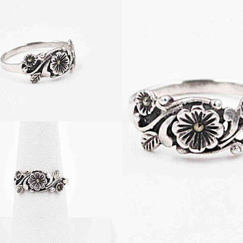 Vintage Sterling Silver & Marcasite Flower Ring, Flowers, Leaves, Floral, Swirling, 3D, Size 7 1/2, Sparkly Beauty! #c397