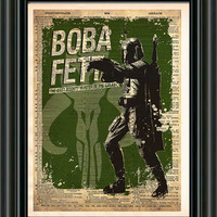 Star Wars - Boba Fett -  Vintage Silhouette print  - Retro Star Wars Art - Dictionary print art