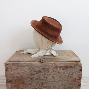 Vintage Women's Brown Leather Australian Outback Hat