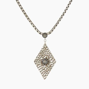 The Hammered Triangle Charm Necklace - Silver