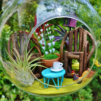 In the Garden Terrarium Kit ~ Coffee Cup on Table ~ Grapevine Chairs ~ Moss ~ 3 Air plants ~ Birdhouse ~ Get Well Gift ~ Gift for Mom