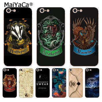 MaiYaCa Gryffindor Hufflepuff Ravenclaw Slytherin Harry Potter Phone  Case for iPhone 8 7 6 6S Plus X 5 5S SE 5C case Cover