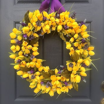 Yellow Tulip Wreath, Tulip Wreaths, Spring Wreaths Yellow, Yellow Wreaths, Yellow Tulips