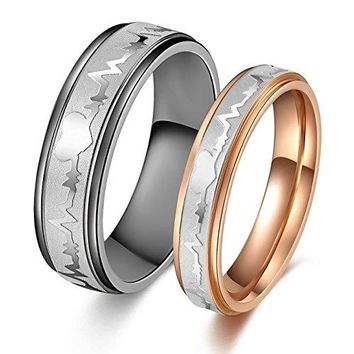 Titanium Stainless Steel quotWe Love Each Otherquot Wedding Band Set Anniversaryengagementpromisecouple Ring Best Gift