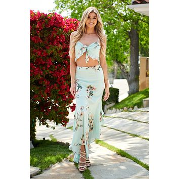 Mint To Be Floral Two Piece Set (Mint)