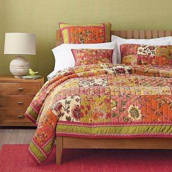 Dada Bedding Bed of Roses Reversible Bohemian Real Patchwork Cotton Quilted Coverlet Bedspread Set - Bright Vibrant Checkered Orange Pink Floral Print - 2-3-Pieces  (JHW569)
