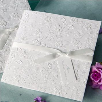 100pcs New Arrival Vertical Laser Cut Wedding Invitation with Ivory White flower & bowknot,Customizable,W1109