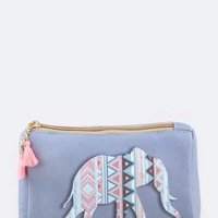Faux Leather Boho Elephant Zipper Storage Pouch