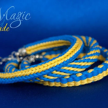 Braided bracelet, Ukraine, blue and yellow, kumihimo, patriotic, ukrainian