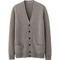 MEN LAMBSWOOL BLEND V NECK CARDIGAN