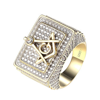 14k Gold Finish Freemason Masonic G Ring Iced Out Hip Hop Sterling Silver .925