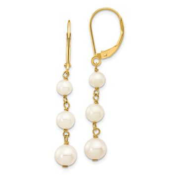 14K Yellow Gold Gold Polished FW Cultured Pearl Drop Hinged Hoop 825563276