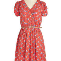 ModCloth 40s Mid-length Short Sleeves A-line Take to the Wind Dress in Red Floral