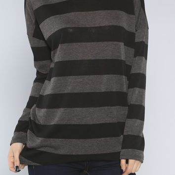 Striped Knit Top, Charcoal