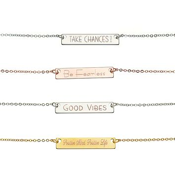 Custom Inspirational Necklace - 18k gold plated