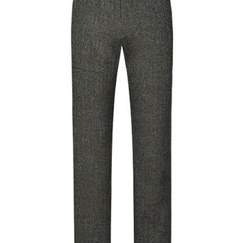 Gray Zippered Texture Pants with Belt Loops