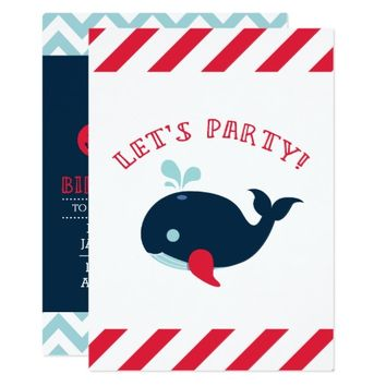 Nautical Boy Birthday Invitation, Whale Card