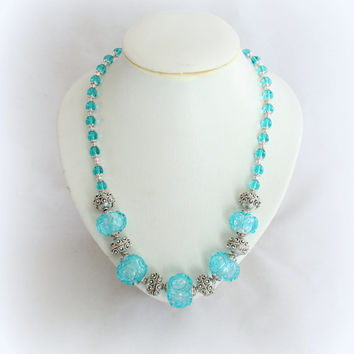 Blue Turquoise hollow beads lampwork  Necklace Silver Beaded art glass jewelry Artisan handmade lampwork Necklace
