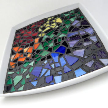 "Mosaic Decorative Plate, 7"" x 7"" White Square Ceramic Tray with Rainbow Stained Glass in an Abstract Design, Handmade Mosaic Platter"