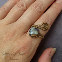 Copper ring, wire wrapped jewelry handmade, wire jewelry, Wire Wrapped Ring, copper jewelry, unique purple and white mother of pearl mosaic