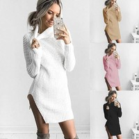 Sexy open high collar sweater shirt women 1018DY