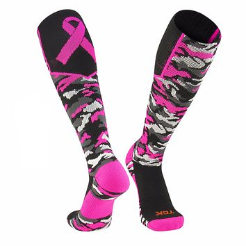 TCK Woodland Camo Elite Breast Cancer Aware Football Baseball Knee-High Socks
