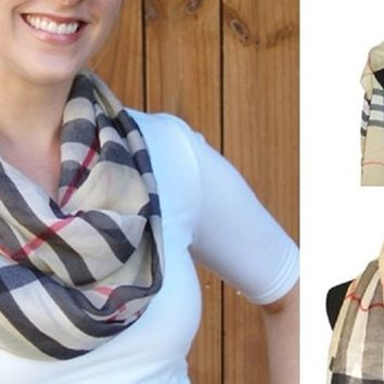 Chic British Plaid Scarves-2 Styles-Long or Circle