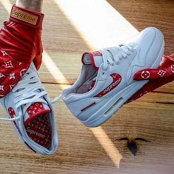 Supreme x Louis Vuitton x Nike Air Max 1 Custom Running Sneakers Sport Shoes
