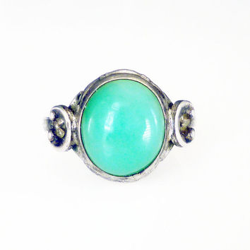 Clark and Coombs Ring Chrysoprase Sterling Silver Modernist Vintage Jewelry
