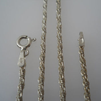 Sterling Silver 925 Twisted Rope Necklace Chain 20 in 2mm SU Italy 925