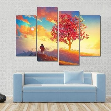 Autumn Landscape With Alone Tree On Mountain Multi Panel Canvas Wall Art